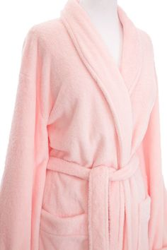 cede77f63b This soft and plush pale pink rose fleece bathrobe is perfect for lounging  around during summer