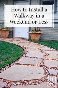 three DIY walkway ideas to add interest to your yard! Our easy how-tos walk you through every step of the process.these three DIY walkway ideas to add interest to your yard! Our easy how-tos walk you through every step of the process. Front Yard Walkway, Backyard Walkway, Outdoor Walkway, Flagstone Walkway, Front Yards, Back Yard, Rock Walkway, Gravel Pathway, Stone Backyard