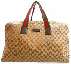 Gucci Beige Brown Canvas Gg Logo Travel Duffle Bag Luggage