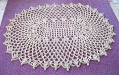 Lacy Oval Area Rug - Crochet Jute Rug - Oval Doily Rug by Exotiflora, $250.00