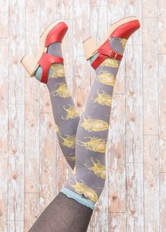 Quirky peacock feather long socks debeersdesign.com