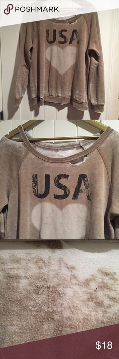 Chaser distressed USA sweater Purposely distressed chaser USA sweatshirt with a heart on it. So comfortable and great to wear on a summer evening. Tan color with white heart and black USA writing. Chaser Tops
