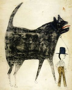 Love this one of a man walking his huge dog by Bill Traylor, Alabama artist born into slavery in 1854, died 1949.