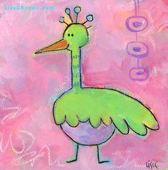 Egbert  cute bird original 6x6 painting on canvas by www.LiseCBrown.com #children #art_for children