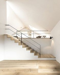 CONTEMPORARY WHITE WOOD FLOATING STAIRCASE STEEL RAIL