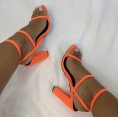 Strappy Block Heels, Lace Up Heels, Kicks Shoes, Shoes Heels, Swag Shoes, Fashion Slippers, Fashion Shoes, Orange High Heels, Cute Heels