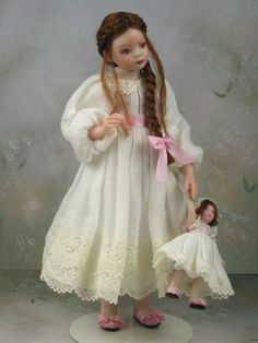 1 12th Dollhouse Miniature Porcelain Girl Doll with Dolly by Trri Davis | eBay