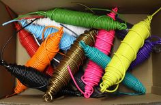 This is the vinyl cording used to make our Acapulco chairs and other woven indoor outdoor chairs. This is incredibly strong stuff with UV protection to keep the material from degrading or losing its colour, also with anti-fungal protection. It is flexible but not so much that it will stretch out. Available in a dozen colours here on 125 foot rolls. Check out pricing on 1000 foot rolls, also available on Etsy. Made in Canada using organic plasticizers. The greenest flexible PVC on the market…