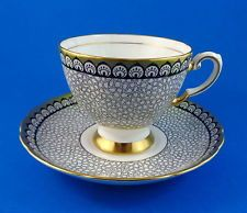 Black and Gold Chintz Design Tuscan Tea Cup and Saucer Set