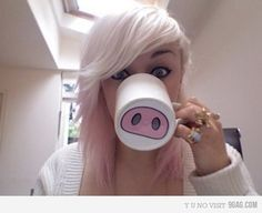 Le piggy mug, buy white mug paint or use marker to put nose on bottom