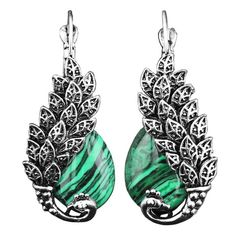 Silver Plated Peacock Feathers and Egg Drop Earrings