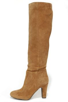 Jessica Simpson Ference Dakota Tan Suede Knee High Heel Boots at Lulus.com!