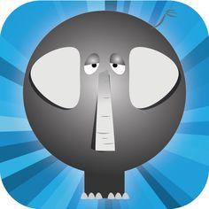 El elefante, el logotipo de MIMEMO y uno de los divertidos dibujos de este fantástico juego de memoria visual y auditiva creado por binariq.