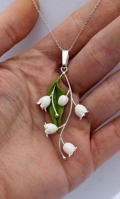 Lily of the valley pendant silver 925 spring von Jewellrylimanska