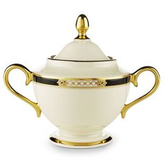 For elegant tea or coffee service, introduce the Lenox Hancock Sugar Bowl with Lid into your set. This fine ivory porcelain sugar bowl and lid set. Coffee Course, Unique Ceiling Fans, Lenox China, Coffee Service, Elegant Dining, Fine China, Gold Bands, Sugar Bowl, Dinnerware