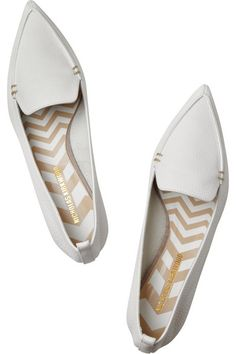 Sculpted gold heel measures approximately 20mm/ 1 inch White textured-leather Slip on