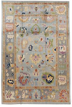 For Sale on - Beautiful contemporary Turkish Oushak rug, hand knotted wool with a gold-bronze frame and blue field, multi-color accents in a multi medallion design. Geometric Rug, Tribal Rug, Afghan Rugs, Floral Rug, Woven Rug, Oriental Rug, Colorful Rugs, Rugs On Carpet, Vintage Rugs