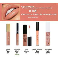"""Kim is available as part of the KWW Crème Liquid Lipstick Collection in collaboration with Kylie Cosmetics on KKW Beauty ⇢ Milani's """"Adore"""" and Ruby Kisses' """"Ny Ny"""" is no longer available Mac Eyeshadow Dupes, Drugstore Makeup Dupes, Lipstick Dupes, Beauty Dupes, Beauty Makeup, Lipsticks, Elf Dupes, Makeup Swatches, Liquid Lipstick"""