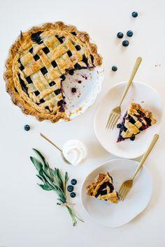 Sage Blueberry Pie with Sour Cream Vanilla Bean Crust