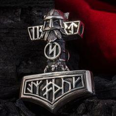 "Sterling Silver Handmade THOR'S HAMMER MJOLNIR Pendant ""Wolf and Warrior"""