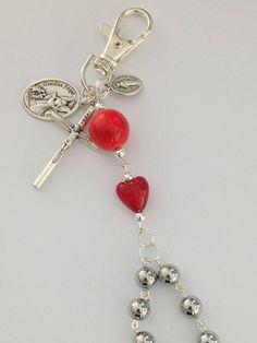 Red Car Rosary Clip Rosary for Drivers Auto Rosary Travel