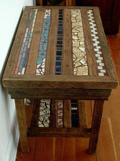 For the little bit I've worked with wood, I've LOVED it! - Side table of barn wood and upcycled tile. Repurposed Furniture, Pallet Furniture, Furniture Projects, Mosaic Furniture, Painted Furniture, Barn Wood Projects, Creation Deco, Wood Creations, Into The Woods