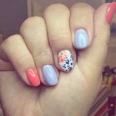 Spring flowers, nail art, gelish, gel manicure, opi, colorful, spring, flowers