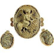 Stunning Italian lava cameo set, large brooch and earrings stamped 18K, 14K gold, museum quality objet d'art