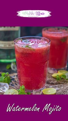 Summer Drink Recipes, Alcohol Drink Recipes, Summer Drinks, Watermelon Mojito, Mint Mojito, Mojito Drink, Watermelon Recipes, Margarita Bebidas, Indian Dessert Recipes