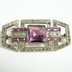 Glitzy 1920s Art Deco Rhinestone Pin Brooch by WickedDarling