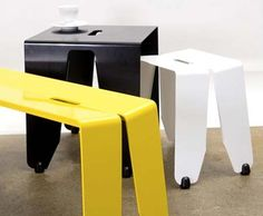 Brainwash – Stools, table and bench from Luxxbox