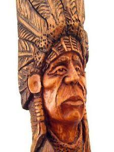 Native American Indian Wood Carvings | Wood-Carving-Spirit-Log-Home-Cabin-Sculpture-Bust-Native-American ...