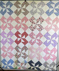 Antique  Vintage Handmade Quilt 1930's Patchwork Pinwheel Quilt