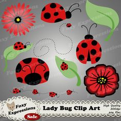 Do you like clip art? Check out www.FoxyExpressions.com Lady Bug clip art pack comes with 10 pieces to brighten up any project. Designs include lady bugs, leaf, #flowers and paths. #Red, #Black, Green  This pack is great for scrapb... #foxyexpress #sale #summer #spring #red #black #green #leaves #picnic #outside #beauty