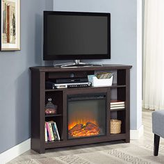 Shop Walker Edison Wood Fireplace TV Stand Cabinet for Most Flat-Panel TVs Up to Espresso at Best Buy. Find low everyday prices and buy online for delivery or in-store pick-up. Corner Fireplace Tv Stand, Fireplace Console, Wood Fireplace, Fireplace Inserts, Fireplace Ideas, Fireplace Drawing, Fireplace Candles, Simple Fireplace, Fireplace Kitchen