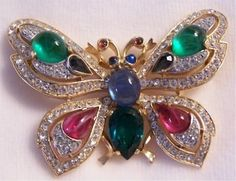 Vintage-Crown-Trifari-Jewels-Of-India-Moghul-Butterfly-Pin-Brooch