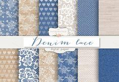 Denim/burlap lace digital paper by burlapandlace on Creative Market