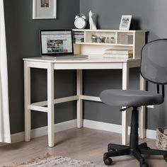 Corner Laptop Writing Desk With Optional Hutch - Vanilla