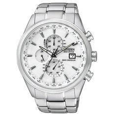 4fc4112f849 Citizen Men s World Chronograph A-T White Dial Radio Controlled Eco-Drive  Dive Watch