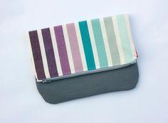 striped handbag clutch // mod stripe and grey by olivetreetextiles, $31.00