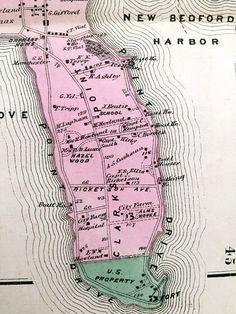 Vintage Maps, Vintage Postcards, Bedford Massachusetts, Fair Haven, New Bedford, Hand Coloring, Bristol, New England, Beer