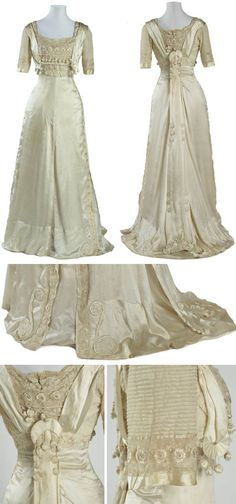 "Dress, ca. 1905-09. Cream silk satin. Museum of New Zealand: ""This dress epitomises the elegant feminine fashions of the well-to-do in the Edwardian period, particularly in its use of soft flowing pale silk, extensive use of lace and net, and in the ornate decoration of the bodice."""