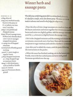 Winter herb and sausage pasta - Rachel Allen