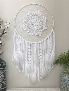 Large White Dream Catcher - Boho Nursery Wall Decor - White Bohemian Bedroom Wall Hanging - Decoration Fireplace Garden art ideas Home accessories Grand Dream Catcher, Lace Dream Catchers, Dream Catcher White, Dream Catcher Craft, Dream Catcher Boho, Boho Nursery, Nursery Wall Decor, Bedroom Wall, Bed Room