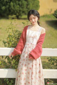 Kawaii Fashion, Cute Fashion, Fashion Outfits, Asian Cute, Beautiful Asian Girls, Curly Asian Hair, Cute Dresses, Beautiful Dresses, Mori Girl