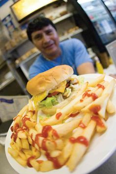 """Gus burger and fries, aka the """"Spot Special,"""" at the White Spot, Charlottesville, VA. A local (and student) hot """"spot!"""""""