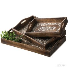 Carved Floral Trays Set | Great display and service options at a great price. Set of 3 sophisticated trays made from renewable mango wood are hand carved in beautiful detail with a stylized tulip pattern, then carefully whitewashed in the recessed areas. Cutout handles for convenient carrying. serrv.org