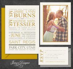 Gold Custom Typography Wedding Invitation Set by Jeneze on Etsy