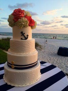 Nautical wedding cake with anchor  LadyCakes  - Wedding.com