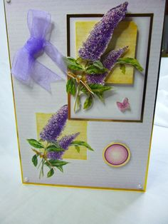 3D decoupage, Birthday Greeting card, Female any age,Mum, Daughter, Sister, Aunt, Niece, flowers lilac small butterfly